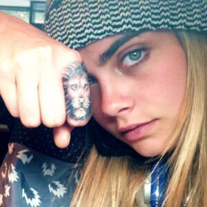 Cara's lion tattoo.