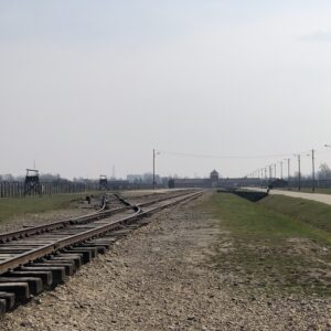 Auschwitz II camp. Prisoners were transported here by train.
