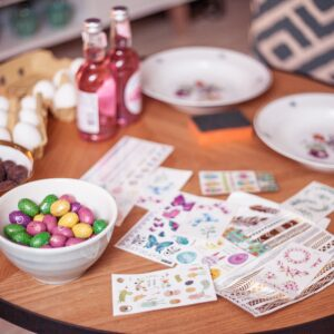 Stickers, colours and chocolate.