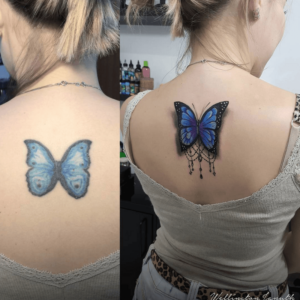 Tattoo before and after touch up.